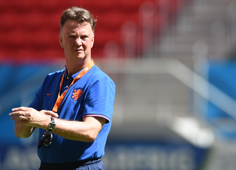 Then Netherlands' coach Louis van Gaal pictured during a training session at the National Stadium in Brasilia on July 11, 2014 on the eve of the 2014 FIFA World Cup third place play-off between Netherlands and Brazil