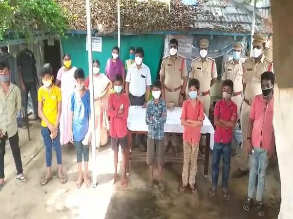 Children rescued from the streets in the Krishna district's Nuzividu circle. (Photo/ANI)