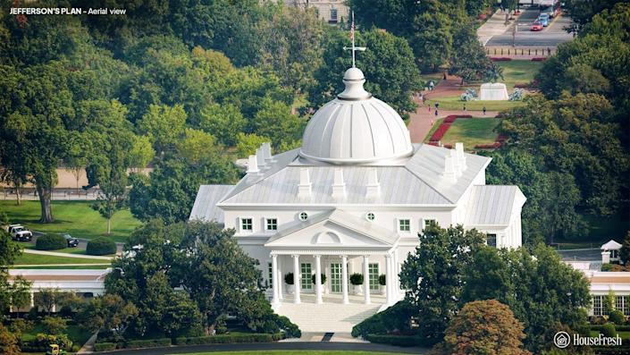 Aerial view of the White House designed by Thomas Jefferson.