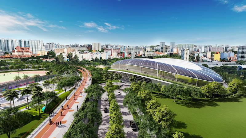 The proposed velodrome in the Kallang Alive precinct. (INFOGRAPHIC: Sport Singapore)