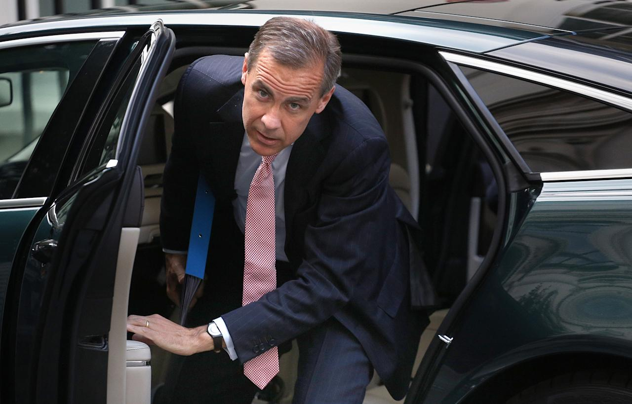 Mark Carney the new Governor of the Bank of England arrives at 11 Downing Street in London to have dinner with the Chancellor of the Exchequer, George Osborne.