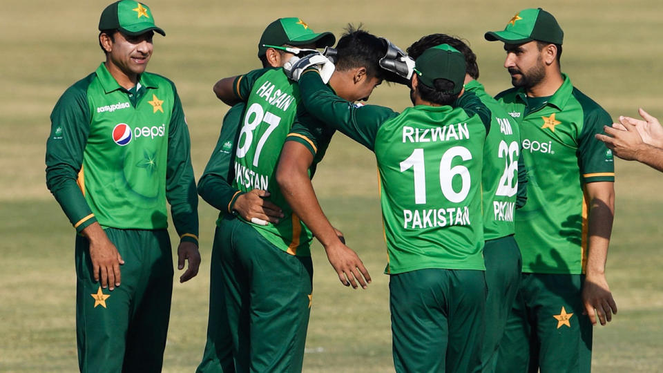 Pakistan players, pictured here celebrating during an ODI against Zimbabwe in November.