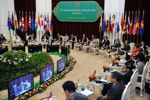 Foreign ministers from 10 countries of the Association of Southeast Asian Nations attend the 19th ASEAN Regional Forum