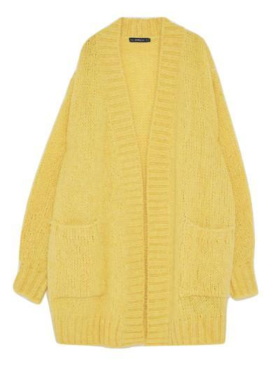 """<p>Cheer up when rain is forecast and don sunny yellow this season. We have our eyes on this canary-hued knit… <em><a rel=""""nofollow noopener"""" href=""""https://www.zara.com/uk/en/woman/knitwear/view-all/oversized-wool-cardigan-c733910p4913359.html"""" target=""""_blank"""" data-ylk=""""slk:Zara"""" class=""""link rapid-noclick-resp"""">Zara</a>, £39.99</em> </p>"""