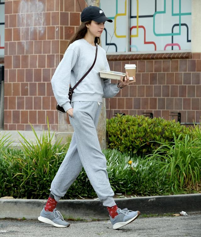 <p>Margaret Qualley goes for a quick coffee run in Los Angeles on Wednesday.</p>