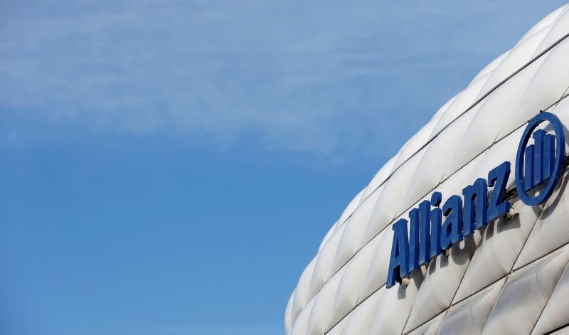 FILE PHOTO: The logo of Europe's biggest insurer Allianz SE is pictured at the Allianz Arena soccer stadium in Munich