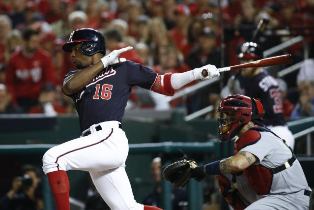 Washington Nationals' Victor Robles hits a single during the third inning of Game 3 of the baseball National League Championship Series against the St. Louis Cardinals Monday, Oct. 14, 2019, in Washington. (AP Photo/Patrick Semansky)