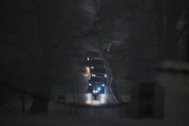 A convoy is arriving for a NATO leaders meeting at The Grove hotel and resort in Watford, Hertfordshire, England, Wednesday, Dec. 4, 2019. As NATO leaders meet and show that the world's biggest security alliance is adapting to modern threats, NATO Secretary-General Jens Stoltenberg is refusing to concede that the future of the 29-member alliance is under a cloud. (AP Photo/Frank Augstein)