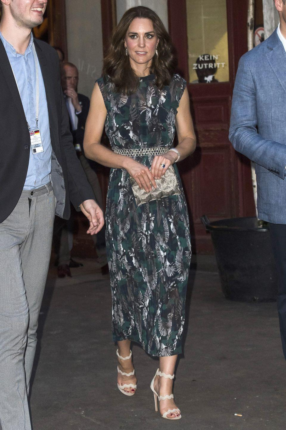 <p>In a Markus Lupfer dress and Prada sandals out on the streets in Germany. </p>