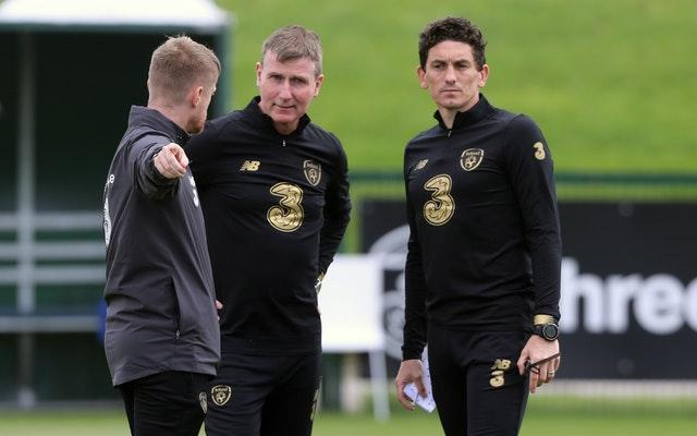 Republic of Ireland coach Damien Duff (left), manager Stephen Kenny (centre) and coach Keith Andrews prepare their players for the clash with Finland