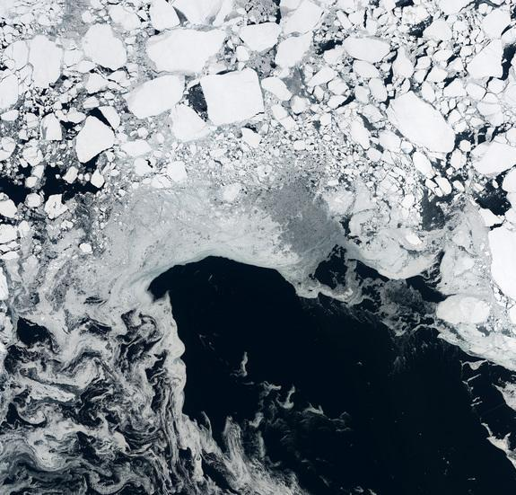 Arctic sea ice as seen by the European Space Agency's Cryosat satellite on Sept. 15, 2014.