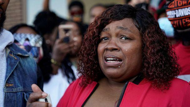 PHOTO: Tamika Palmer, the mother of Breonna Taylor, speaks during a protest on Sept. 18, 2020, while waiting for the findings of the grand jury in the case of Breonna Taylor, shot dead in her apartment by police, in Louisville, Ky. (Bryan Woolston/Reuters, FILE)