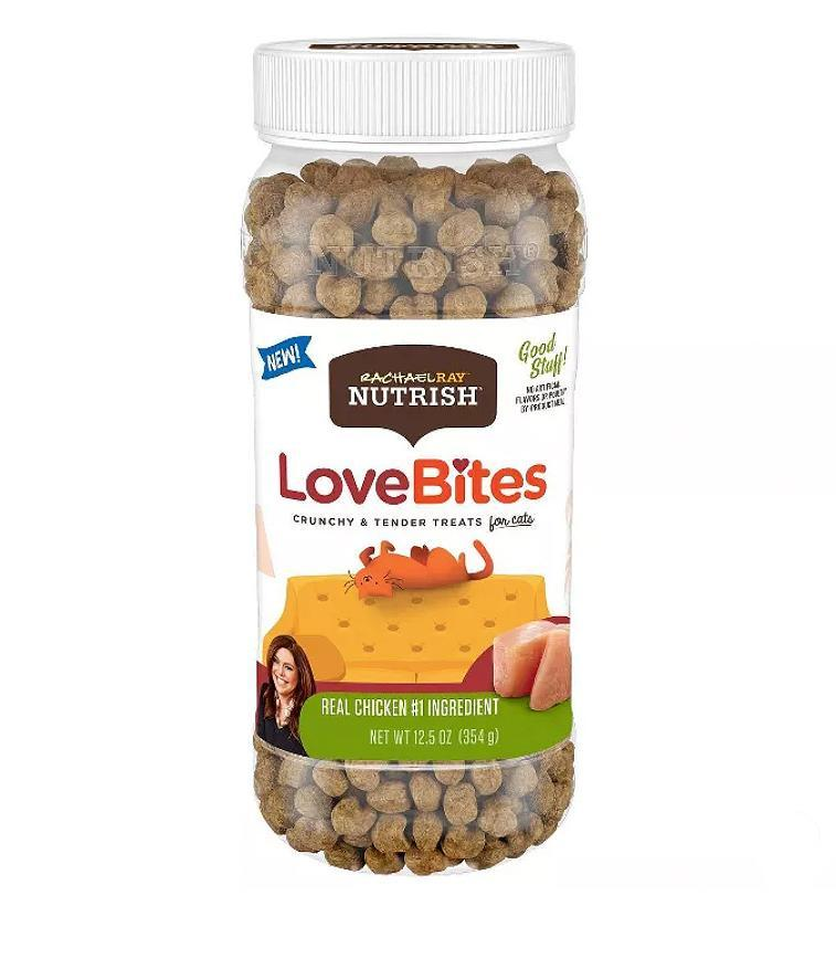 """<p>Show your cat how much you adore them with these treats that have love right in the name. </p> <p><strong>Buy it!</strong> Rachael Ray Nutrish LoveBites, $6.69; <a href=""""https://goto.target.com/c/249354/81938/2092?subId1=PEO10AdorableGiftstoGetYourLovingPetforValentinesDaykbender1271PetGal12571843202102I&u=https%3A%2F%2Fwww.target.com%2Fp%2Frachael-ray-nutrish-love-bites-chicken-cat-treat-12-5oz%2F-%2FA-78775558"""" rel=""""nofollow noopener"""" target=""""_blank"""" data-ylk=""""slk:Target.com"""" class=""""link rapid-noclick-resp"""">Target.com</a></p>"""