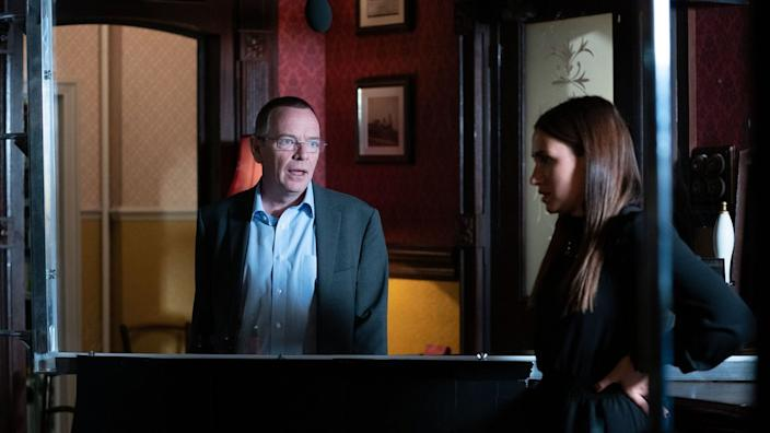 Ian Beale (played by Adam Woodyat) and Dotty Cotton (played by Milly Zero) act on either sides of a Perspex screen