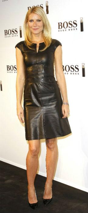 Sexy Senorita! Gwyneth Paltrow Dons Leather Dress To Launch Boss Fragrance In Spain