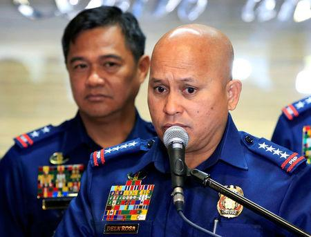 Philippine National Police (PNP) Chief Ronald dela Rosa announced the re-launch of police anti-narcotics operations during a news conference inside the PNP headquarters in Quezon city, metro Manila
