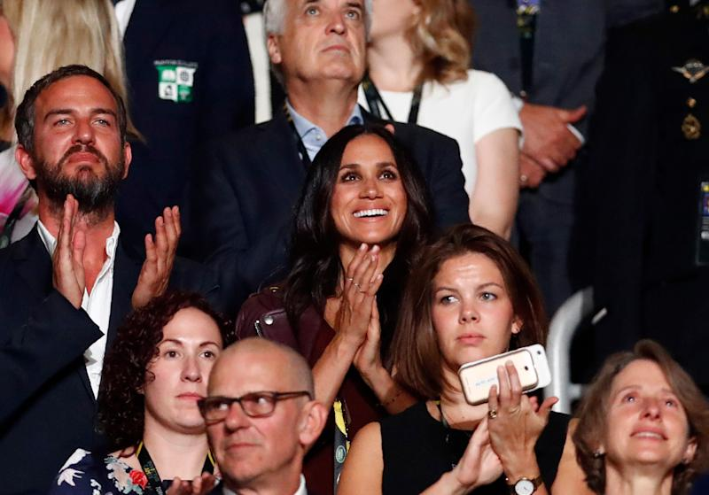 "In our first glimpse of Meghan as Harry's girlfriend, we watched as <a href=""https://www.huffingtonpost.ca/entry/meghan-markle-invictus-games-prince-harry_ca_5cd50664e4b07bc729740d17"" target=""_blank"" rel=""noopener noreferrer"">she cheered on her boyfriend</a> as he made a speech at the Invictus Games' opening ceremony in Toronto&nbsp;on Sept. 23, 2017."