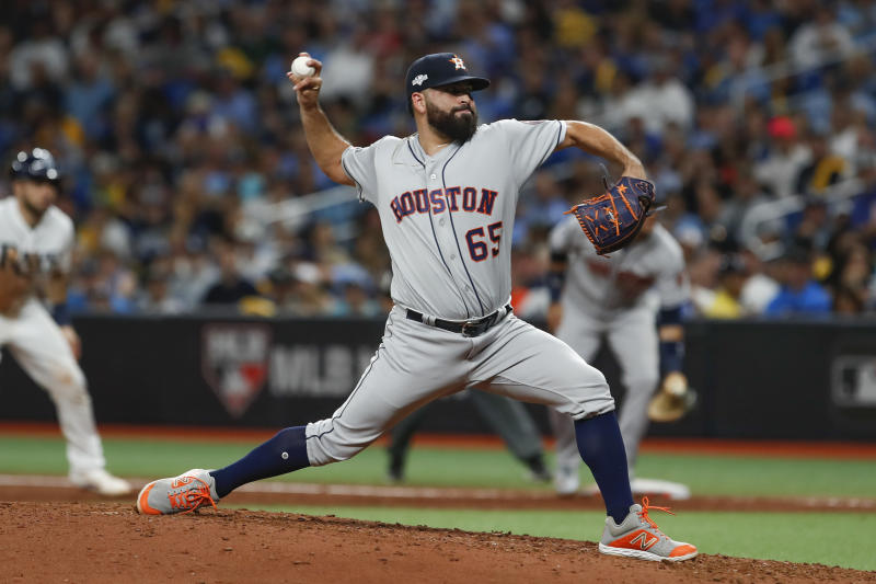 ST. PETERSBURG, FL - OCTOBER 08: Houston Astros starting pitcher Jose Urquidy (65) delivers a pitch during Game 4 of the ALDS between the Houston Astros and Tampa Bay Rays on October 8, 2019 at Tropicana Field in St. Petersburg, FL. (Photo by Mark LoMoglio/Icon Sportswire via Getty Images)