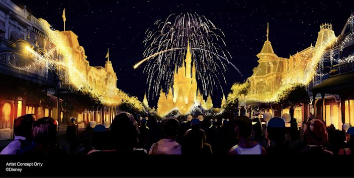 Artist rendering of new Magic Kingdom fireworks show that will debut in 2021.
