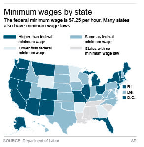 Map shows states with minimum wages compared to federal minimum wage.; 2c x 5 inches; 96.3 mm x 127 mm;