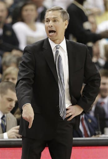 Wake Forest head coach Jeff Bzdelik directs his team against Miami during the second half of an NCAA college basketball game in Winston-Salem, N.C., Saturday, Feb. 23, 2013. Wake Forest won 80-65. (AP Photo/Chuck Burton)