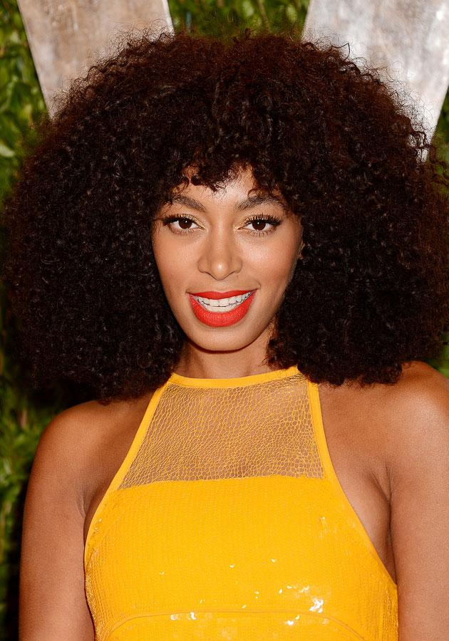 Celebrities wearing red lipstick: Solange Knowles worked her tomato-red lipstick with confidence. <br><br>[Rex]