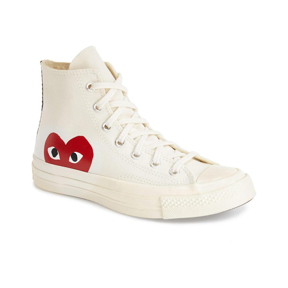 "You can't go wrong with this sneaker collaboration that puts a high-fashion spin on an American classic, and what better time to spread the love than right now? $150, Nordstrom. <a href=""https://www.nordstrom.com/s/comme-des-garcons-play-x-converse-chuck-taylor-hidden-heart-high-top-sneaker-men/4049999"" rel=""nofollow noopener"" target=""_blank"" data-ylk=""slk:Get it now!"" class=""link rapid-noclick-resp"">Get it now!</a>"