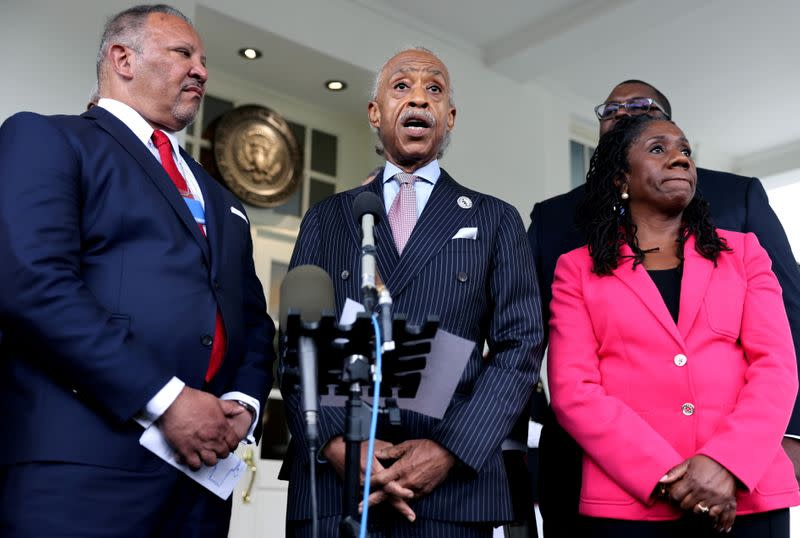 Leadership of civil rights organizations leave the White House following a meeting about voting rights with the President and Vice President
