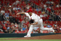 St. Louis Cardinals starting pitcher Jack Flaherty throws during the fifth inning of the team's baseball game against the San Francisco Giants on Tuesday, Sept. 3, 2019, in St. Louis. (AP Photo/Jeff Roberson)