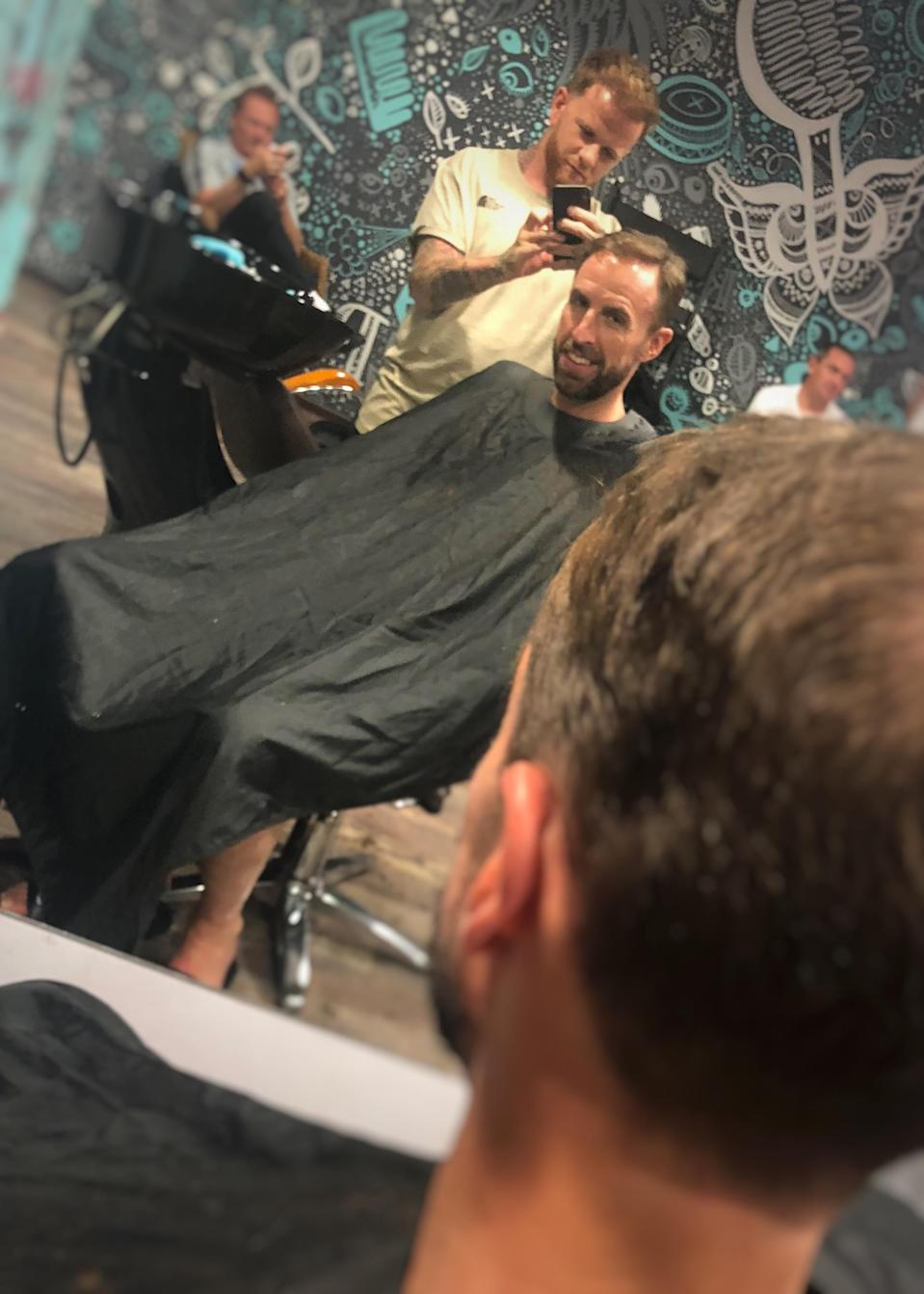 Simon Townley cut Gareth Southgate's hair at the 2018 World Cup in Russia