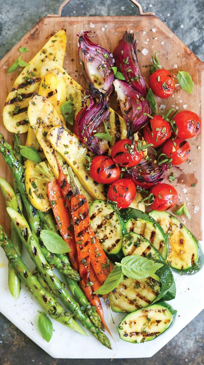 """<strong>Get the <a href=""""http://damndelicious.net/2017/07/05/grilled-vegetable-platter/"""" rel=""""nofollow noopener"""" target=""""_blank"""" data-ylk=""""slk:Grilled Vegetable Platter recipe"""" class=""""link rapid-noclick-resp"""">Grilled Vegetable Platter recipe</a>&nbsp;from Damn Delicious</strong>"""