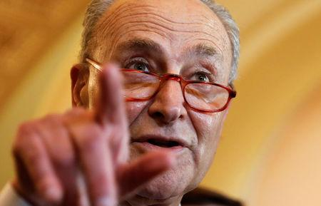 FILE PHOTO: Schumer speaks on Capitol Hill in Washington