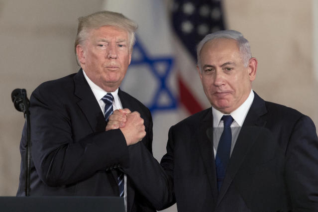 Israeli Prime Minister Benjamin Netanyahu and President Trump at the Israel Museum in Jerusalem in May. (Photo: Sebastian Scheiner/AP)