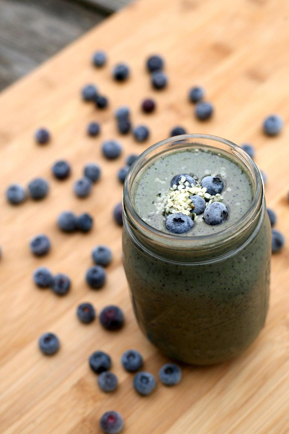 """<p>Since this smoothie is just five ingredients, it's incredibly easy to make and powered by hemp seeds.</p> <p><strong>Get the recipe:</strong> <a href=""""https://www.popsugar.com/fitness/Whole30-Smoothie-Recipe-43399859"""" class=""""link rapid-noclick-resp"""" rel=""""nofollow noopener"""" target=""""_blank"""" data-ylk=""""slk:banana blueberry hemp seed smoothie"""">banana blueberry hemp seed smoothie</a></p>"""