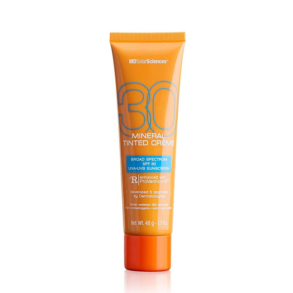 """<h2>MDSolarSciences</h2><br>30% off select products<br><br><br><br><strong>MDSolarSciences</strong> Mineral Tinted Creme SPF 30 Sunscreen, $, available at <a href=""""https://amzn.to/3xANHhV"""" rel=""""nofollow noopener"""" target=""""_blank"""" data-ylk=""""slk:Amazon"""" class=""""link rapid-noclick-resp"""">Amazon</a>"""