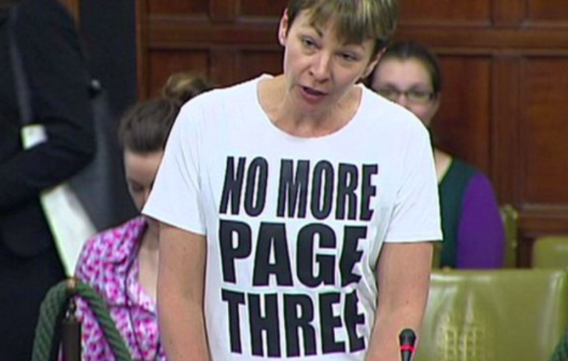 Caroline Lucas was told to remove a slogan T-shirt during a debate in Westminster Hall (Parliament TV)