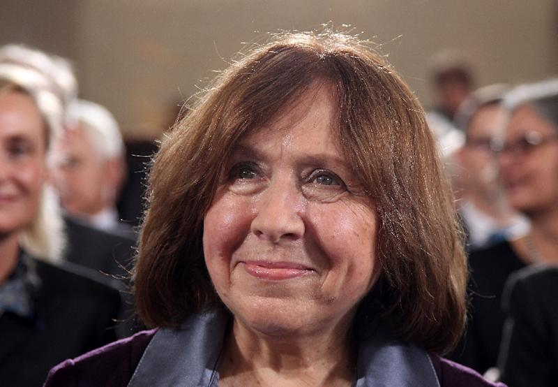 Many are putting their money on Belarusian journalist and writer Svetlana Alexievich to win the 2015 Nobel prize for literature (AFP Photo/Daniel Roland)