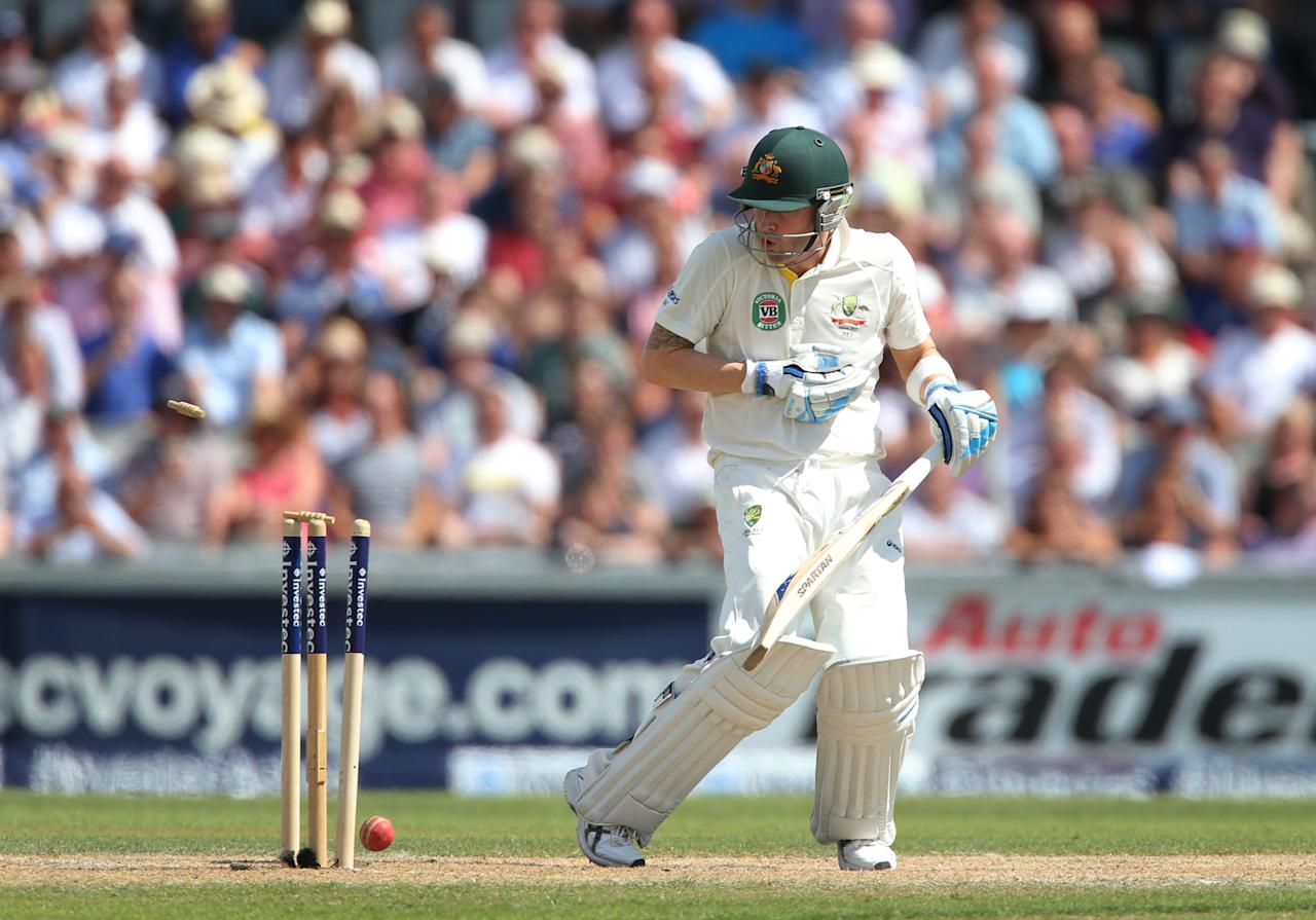 Australia captain Michael Clarke is out for 187 bowled by England's Stuart Broad, during day two of the Third Investec Ashes test match at Old Trafford Cricket Ground, Manchester.