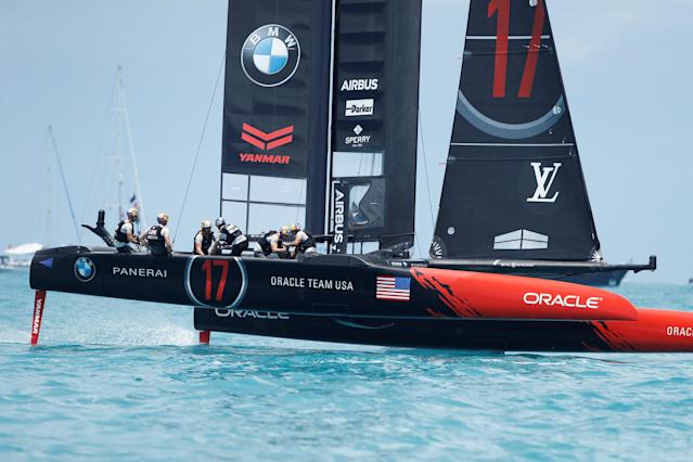 Sailing - America's Cup finals - Hamilton, Bermuda - June 26, 2017 - Oracle Team USA sails before the seat of race 9 against Emirates Team New Zealand America's Cup finals. REUTERS/Mike Segar