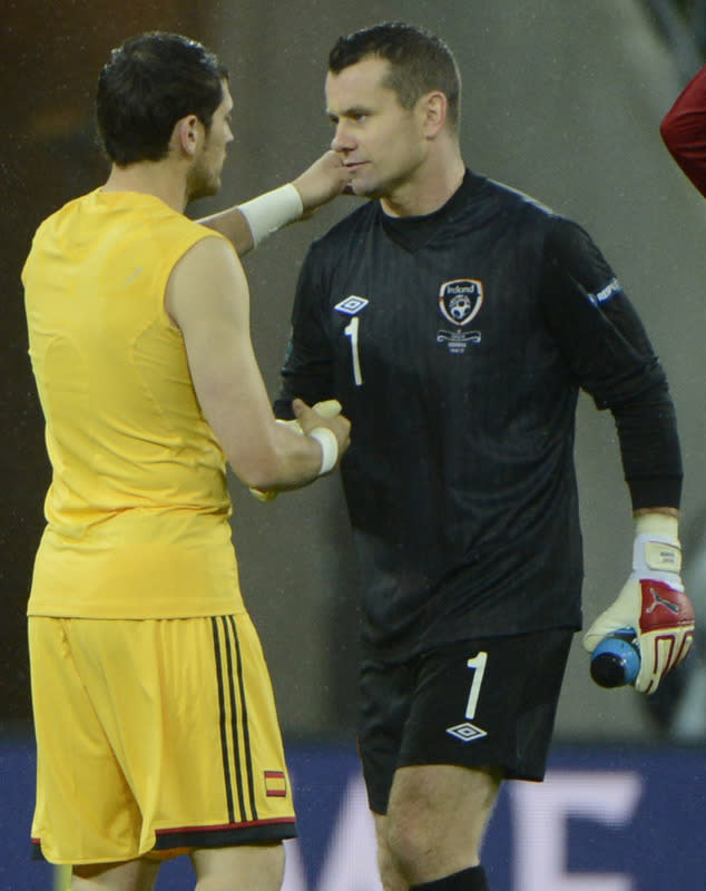 Irish goalkeeper Shay Given (R) shakes hands with Spanish goalkeeper Iker Casillas at the end of the Euro 2012 championships football match Spain vs Republic of Ireland on June 14, 2012 at the Gdansk Arena.  Spain won 4-0 AFP PHOTO / PIERRE-PHILIPPE MARCOUPIERRE-PHILIPPE MARCOU/AFP/GettyImages