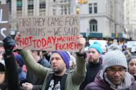 <p>Demonstrators march up Church Avenue in New York, Jan. 29, 2017, protesting President Donald Trump's immigration order. (Gordon Donovan/Yahoo News) </p>