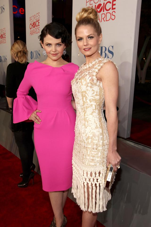 LOS ANGELES, CA - JANUARY 11: Actresses Ginnifer Goodwin and Jennifer Morrison arrive at the 2012 People's Choice Awards at Nokia Theatre L.A. Live on January 11, 2012 in Los Angeles, California.  (Photo by Christopher Polk/Getty Images for PCA)