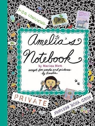 Cover of Amelia's Notebook by Marissa Moss, a faux-marble composition book featuring a drawing of a young girl sticking her tongue out
