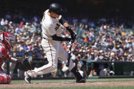 San Francisco Giants' Wilmer Flores hits a double to drive in a run against the Los Angeles Angels during the seventh inning of a baseball game Monday, May 31, 2021, in San Francisco. (AP Photo/Tony Avelar)