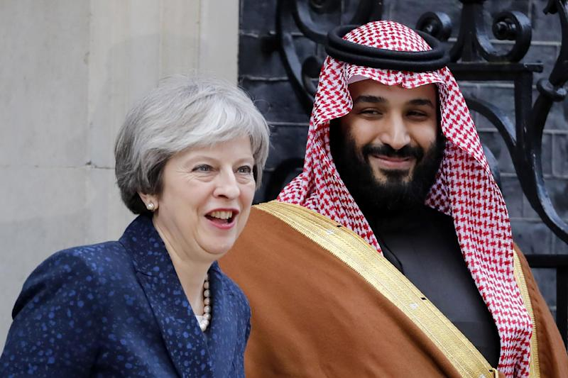 Theresa May welcomed Mohammad bin Salman to Downing Street this week: AFP/Getty