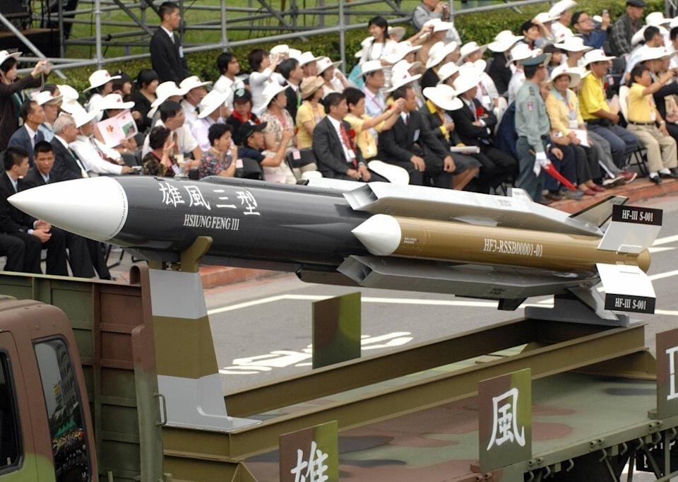 The supersonic Hsiung Feng-3 ship-to-ship missile. Photo: AFP