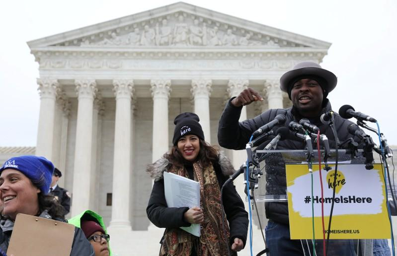 Ivory Coast actor Bamba speaks outside the U.S. Supreme Court during oral arguments in Trump administration's bid to end the DACA program in Washington