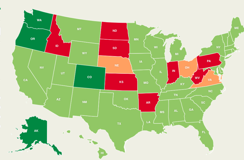 A Map Of Every State And Their Marijuana Laws - Us map on weed laws