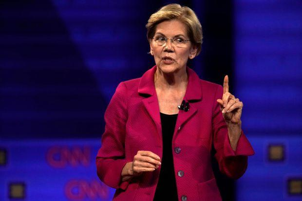 Senator Elizabeth Warren during a televised townhall on LGBTQ issues in Los Angeles.