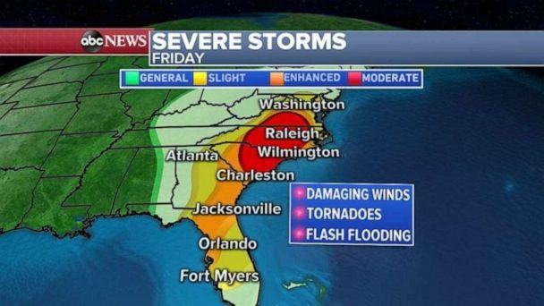 PHOTO: Virginia and the Carolinas may see severe storms today. (ABC News)